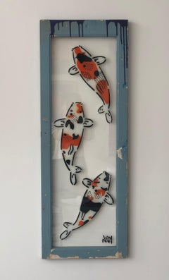 """""""3 Koi: 3 Stages of life"""" Spray paint on found glass in blue wood frame"""