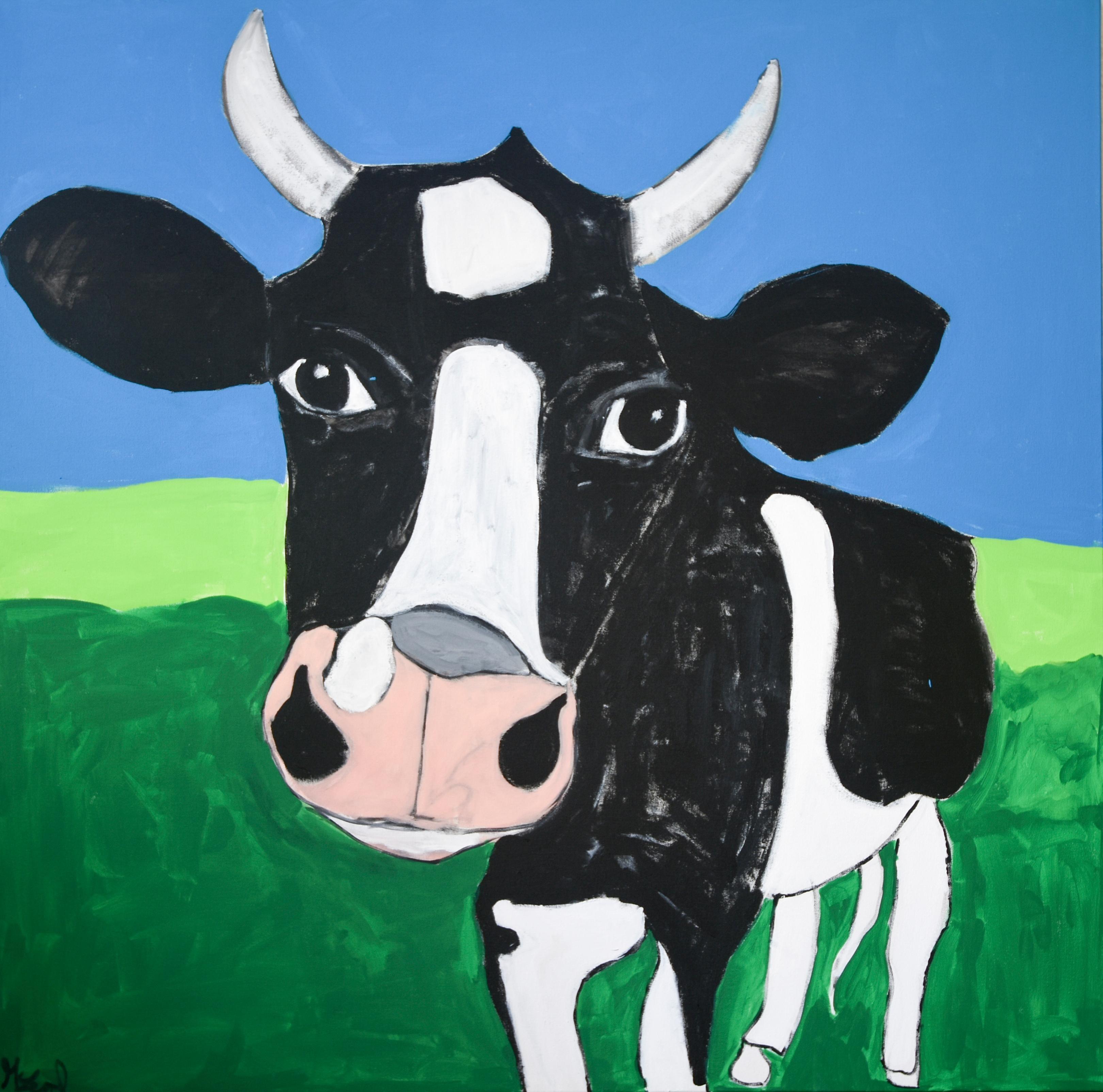 """Orla the Cow"" Acrylic Painting on Canvas"