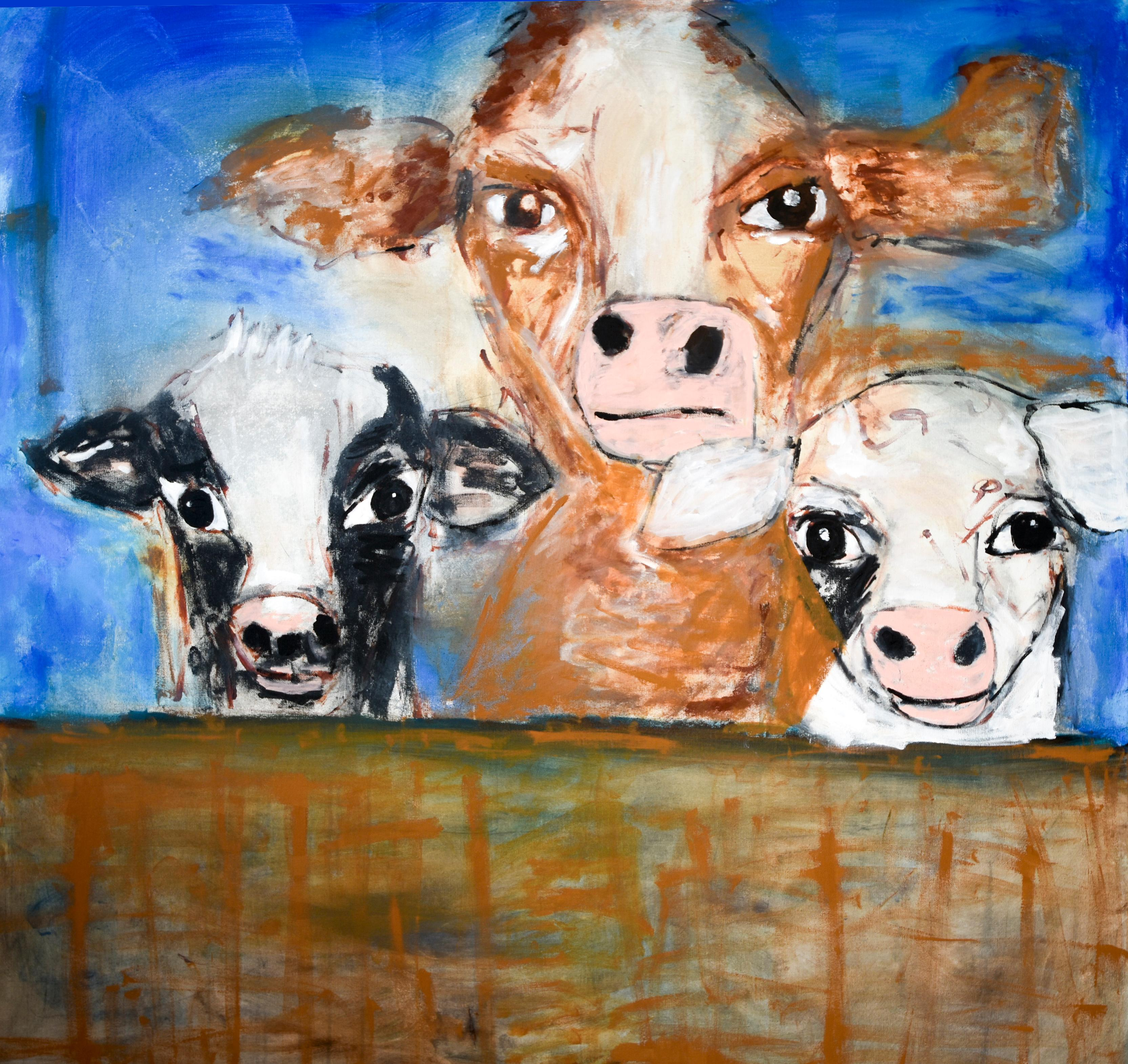 """""""Cows in the Barn"""" Acrylic Painting on Canvas"""