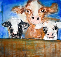 """Cows in the Barn"" Acrylic Painting on Canvas"