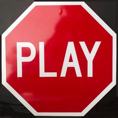 """Play , Stop Sign"" - Contemporary Street Sign Sculpture"