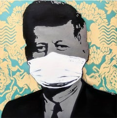 """""""Mask, Not What Your Country Can Do For You"""", YELLOW  aerosol on wood"""