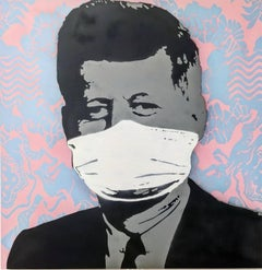 """""""Mask, Not What Your Country Can Do For You"""", PINK  aerosol on wood"""