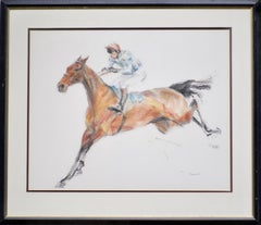 Study of a Steeplechaser, Equestrian, Racing, Sporting, Contemporary, Drawing