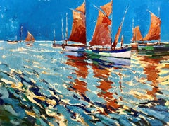 Blue Sky Red Sea - Impressionist, Seascape, Landscape, Contemporary