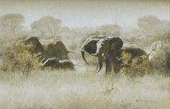An Elephant Morning - Wildlife, Contemporary, Elephant, Realist