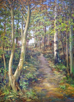 Through the Woods - landscape, contemporary, bluebells, woods