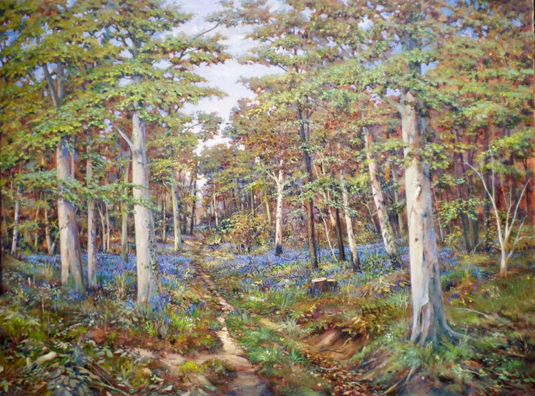Tony Blackwell Landscape Painting - Silver Birches - Landscape, Contemporary, Bluebells