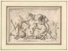 Old Master Drawing by Jean Baptiste Huet I (1745-1811): Putti and a Young Satyr