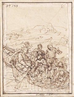 17thC Italian Old Master Drawing by Giulio Benso: Miraculous Draught of Fish