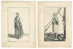 18th C Flemish Old Master Drawings by Charlotte Ridderbosch: Fisherman and Woman