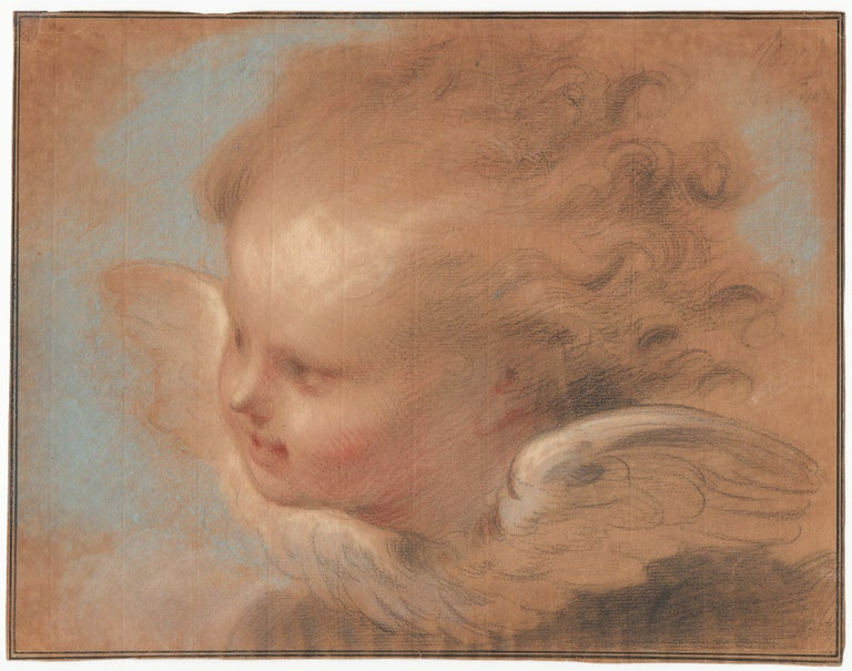 Jacob de Wit (Amsterdam 1695 – 1754 Amsterdam)  A Head of a Putto  Black, white, blue and red chalk, grey wash, black ink framing lines, on yellowish paper, partial watermark crowned shield with French lily, 243 x 313 mm (9.6 x 12.3 inch)  Signed