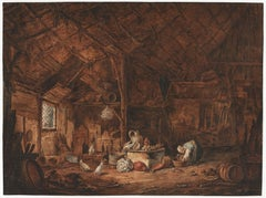 18th C Dutch Old Master Drawing Vincent Jansz van der Vinne Barn Interior