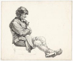 19th C Dutch Old Master Drawing Johannes Christiaan Schotel Study of Seated Man