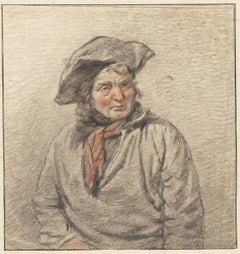 19th C Dutch Old Master Drawing by Christiaan van Geelen II Study of a Man