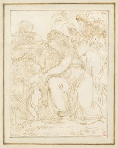 18th C Italian Old Master Drawing Dated 1764 by Giuseppe Cades Flight to Egypt