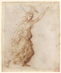 16th C Italian Old Master Drawing c.1505 by Marcantonio Raimondi Allegory