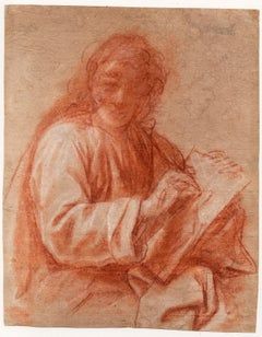 17th C Italian Old Master Drawing by Bartolomeo Schedoni Study of Evangelist