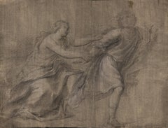 18th C Italian Old Master Drawing by Giacomo Zoboli Study Joseph Potiphar's Wife