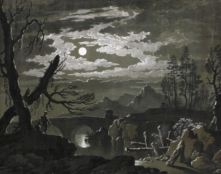 Pietro Giacomo Palmieri (Bologna 1737 – 1804 Turin)  A Moonlit Landscape with Fishermen  Pen and black ink, black and grey wash, heightened with white, over traces of black chalk, on paper prepared green-grey, 475 x 610 mm (18.7 x 24 inch)  Signed