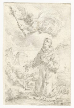 18th C Italian Old Master Drawing by Ercole Graziani St Anthony of Padua