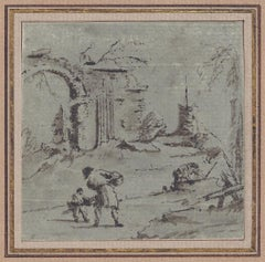 18th C Italian Old Master Drawing by Giacomo Guardi Venetian Scene