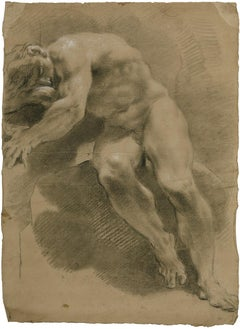 18th C Italian Old Master Drawing by Filippo Pedrini Academy Nude