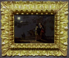 17th C Dutch Old Master Painting by Leonaert Bramer Moonlight Scene