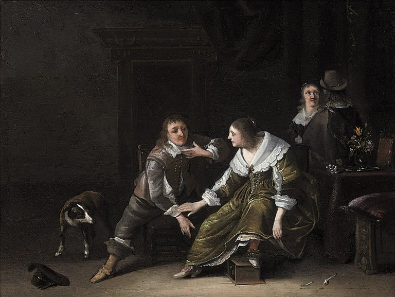 Anthonie Palamedesz (Delft 1601 – 1673 Amsterdam)  Elegant Company in an Interior   Oil on panel, 23.2 x 30.8 cm (9.1 x 12.1 inch); contained in a high quality ebonized frame of 17th-century Dutch model  Inscriptions and labels Indistinctly signed