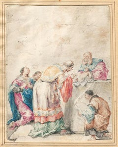 Dutch 17th Century Old Master Drawing by Leonaert Bramer Delft Religious