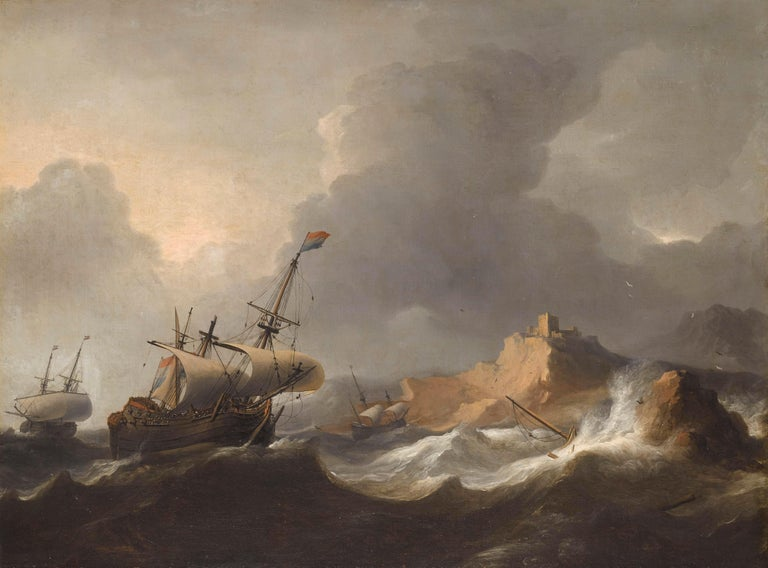 Aernout Smit (Amsterdam 1640/41 – Amsterdam 1710)   Ships in Distress off a Rocky Coast  Oil on canvas, 73.5 x 99 cm  Signed lower right on the bar: 'A. Smit'  Contained in a dark brown frame with gilt fillet (outer dimensions 97 x 120.5 cm); the