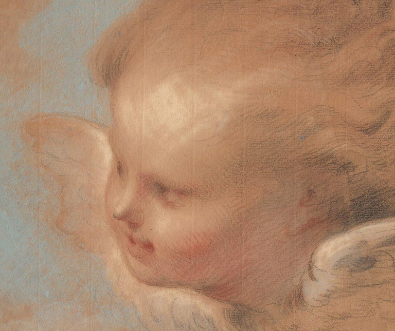 18th C Dutch Old Master Drawing Pastel Jacob de Wit Head of a Putto For Sale 1