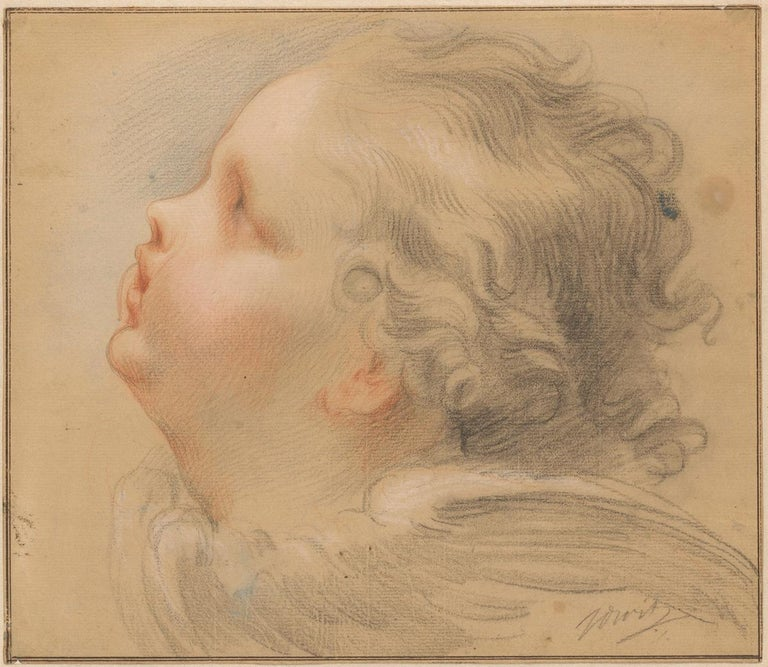 18th C Dutch Old Master Drawing Pastel Jacob de Wit Head of a Putto For Sale 4