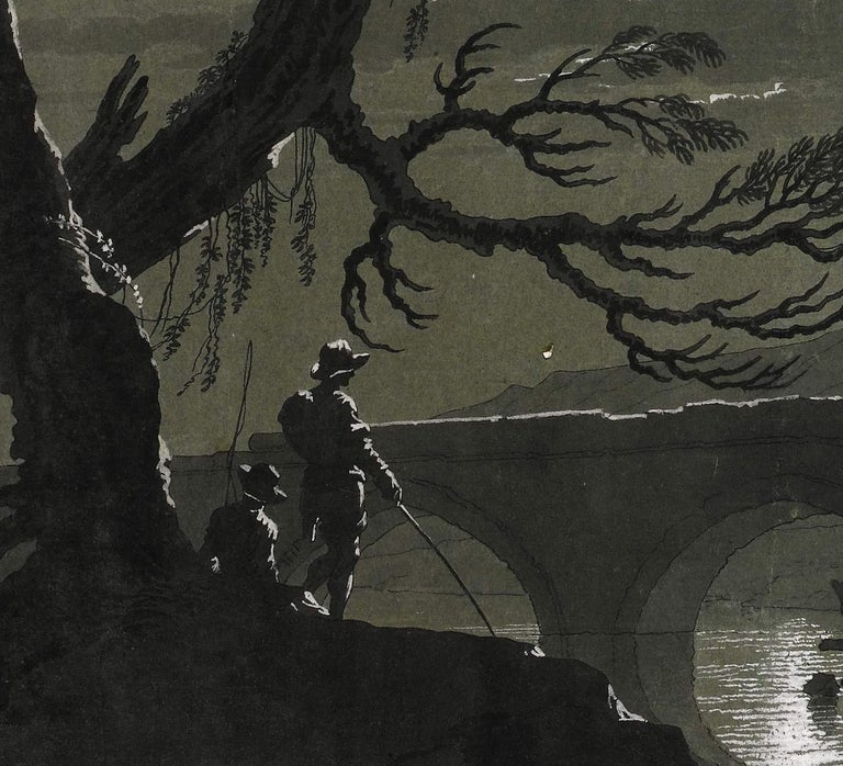 18th C Italian Old Master Drawing Gouache by Pietro Giacomo Palmieri Moonlight For Sale 1
