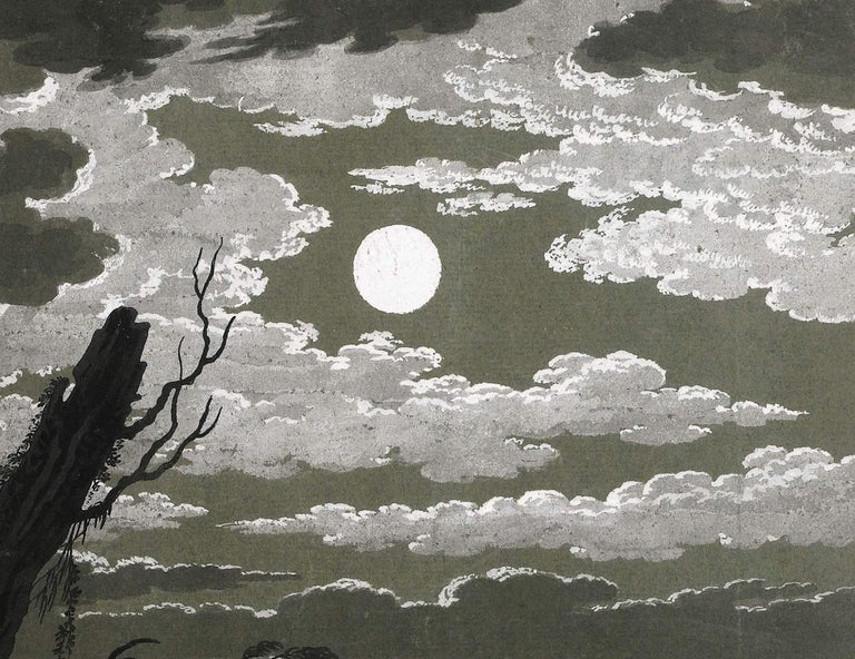 18th C Italian Old Master Drawing Gouache by Pietro Giacomo Palmieri Moonlight For Sale 2