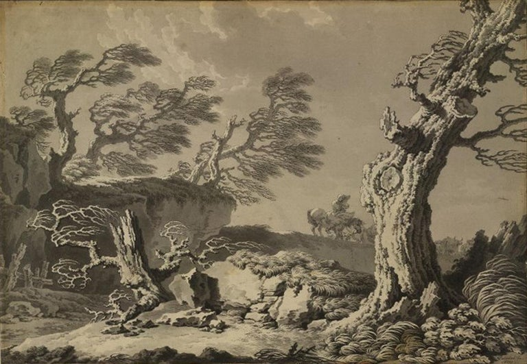 18th C Italian Old Master Drawing Gouache by Pietro Giacomo Palmieri Moonlight For Sale 5