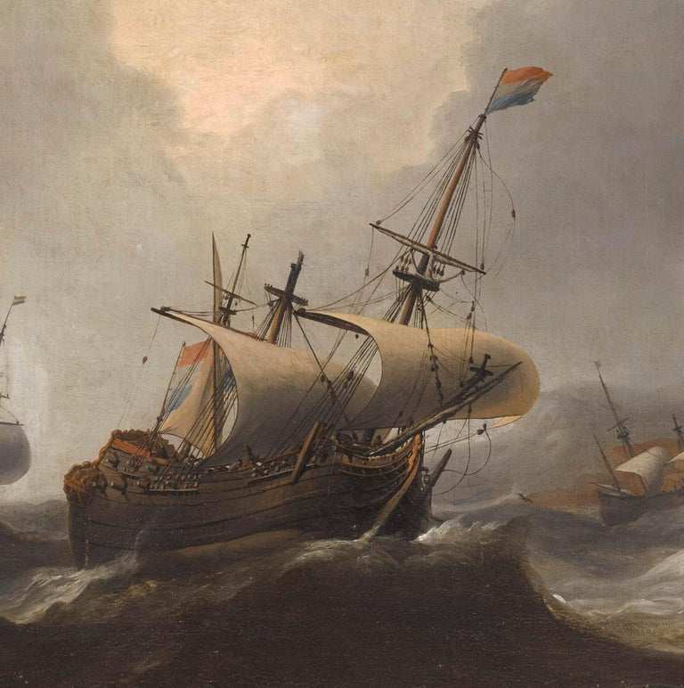 Superb Dutch 17th Century Old Master Painting by Aernout Smit Marine Provenance For Sale 1