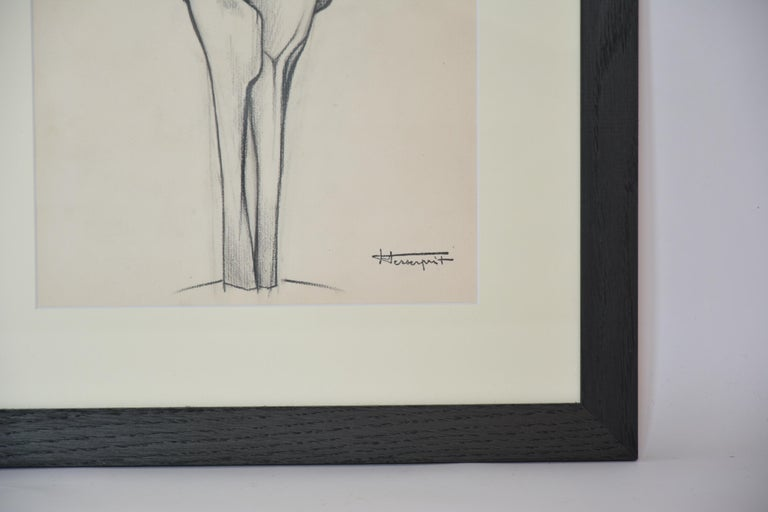 Sculpture drawing - Beige Abstract Drawing by Roger Desserprit