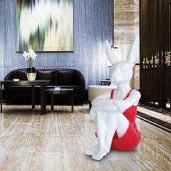 Pop Art - Sculpture - Art - Fibreglass - Gillie and Marc - Rabbit - Woman - Red