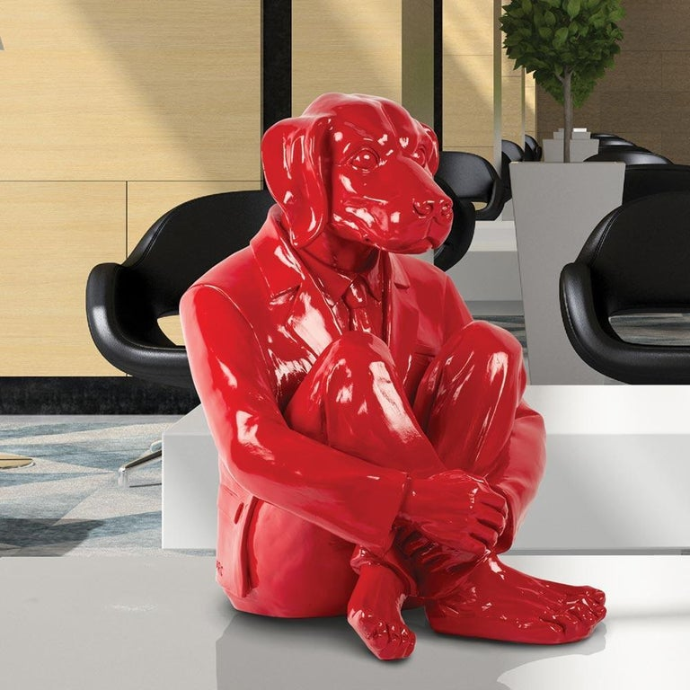 Title: Hip Dog, red Authentic fibreglass sculpture Limited Edition  World Famous Contemporary Artists: Husband and wife team, Gillie and Marc, are New York and Sydney-based contemporary artists who collaborate to create artworks as one. Gillie and