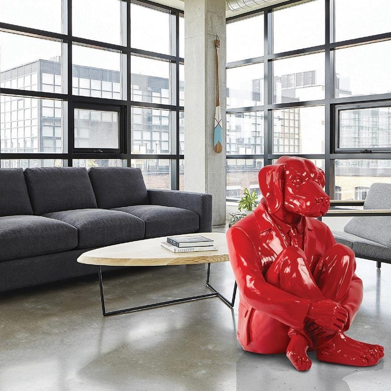 Pop Art - Sculpture - Art - Fibreglass - Gillie and Marc - Dog - Man - Vivid Red For Sale 1