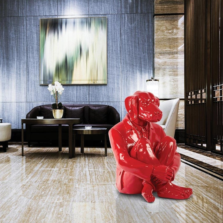 Pop Art - Sculpture - Art - Fibreglass - Gillie and Marc - Dog - Man - Vivid Red For Sale 2
