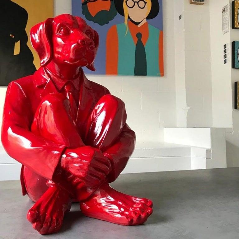 Pop Art - Sculpture - Art - Fibreglass - Gillie and Marc - Dog - Man - Vivid Red For Sale 3