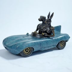 Bronze Sculpture - Limited Edition - by Gillie and Marc - Blue Aston Martin Car