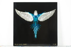 Bronze Brass Sculpture - Limited Edition - Silver Blue Budgie - Bird Art