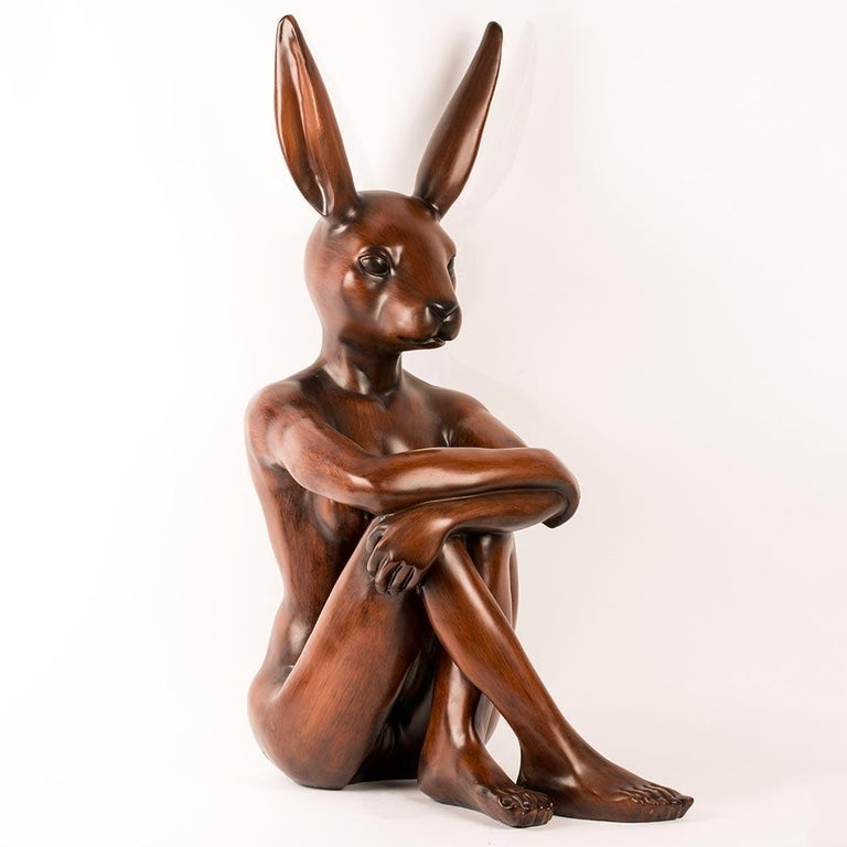 Title: Nature Rabbit (Painted Wood Finish) Authentic fibreglass sculpture Open Edition  World Famous Contemporary Artists: Husband and wife team, Gillie and Marc, are New York and Sydney-based contemporary artists who collaborate to create artworks