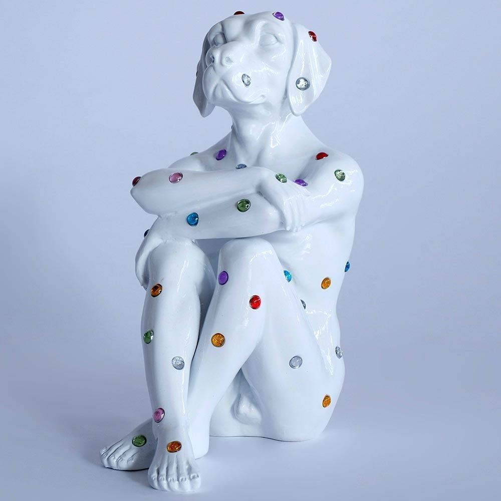 Pop Art - Sculpture - Art - Fibreglass - Gillie and Marc - Dog - White - Jewel