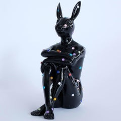 Pop Art - Sculpture - Fibreglass - Gillie and Marc - Rabbit - Black - Jewel