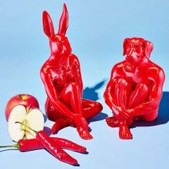 Resin Sculpture - Pop Art - Gillie and Marc - Nude - Mini Dogman - Rabbitgirl