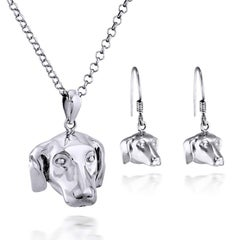 Pop Art - Sculpture - Jewellery - Gillie and Marc - Dog - Puppy - Silver Set